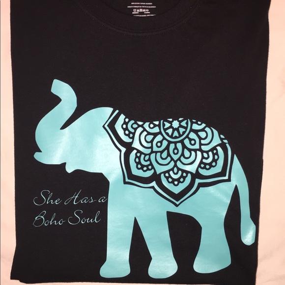 Tops - She has a boho soul Mandala elephant T-shirt